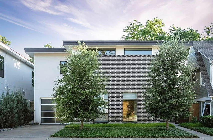 Contemporary house with brick veneer walls