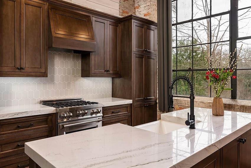 Contemporary kitchen with white thick slab quartzite countertops dark wood cabinets black hardware