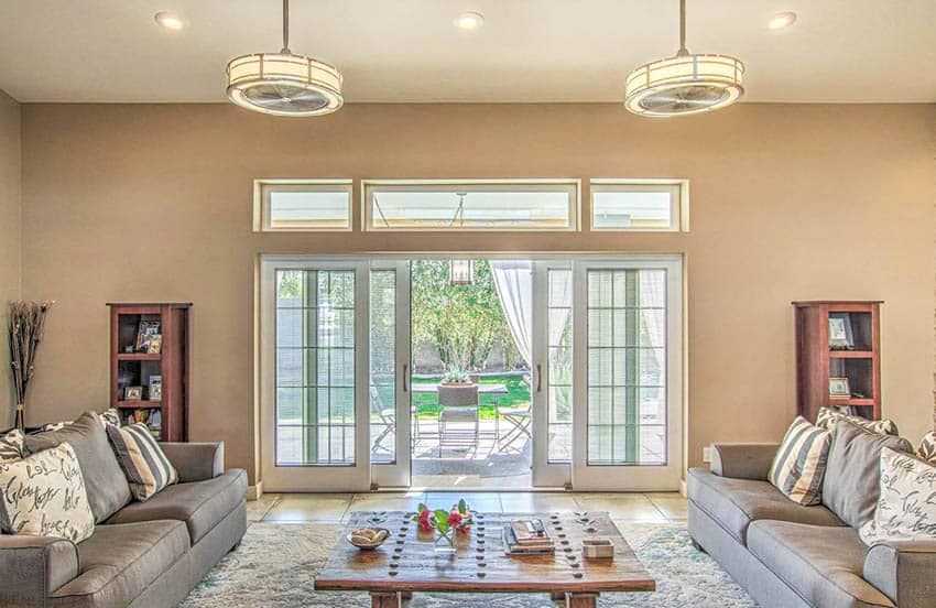 Contemporary living room with clerestory windows