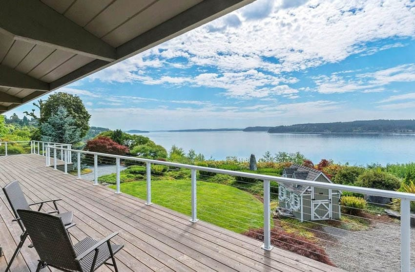 Deck cable railing with waterfront views