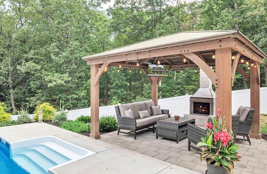 Large backyard pool cabana with ceiling mounted tv