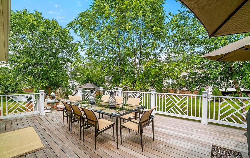 Modern geometric design deck railing
