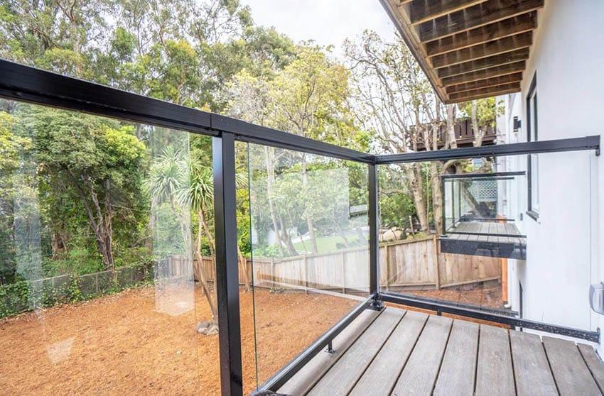 Modern metal glass deck railing