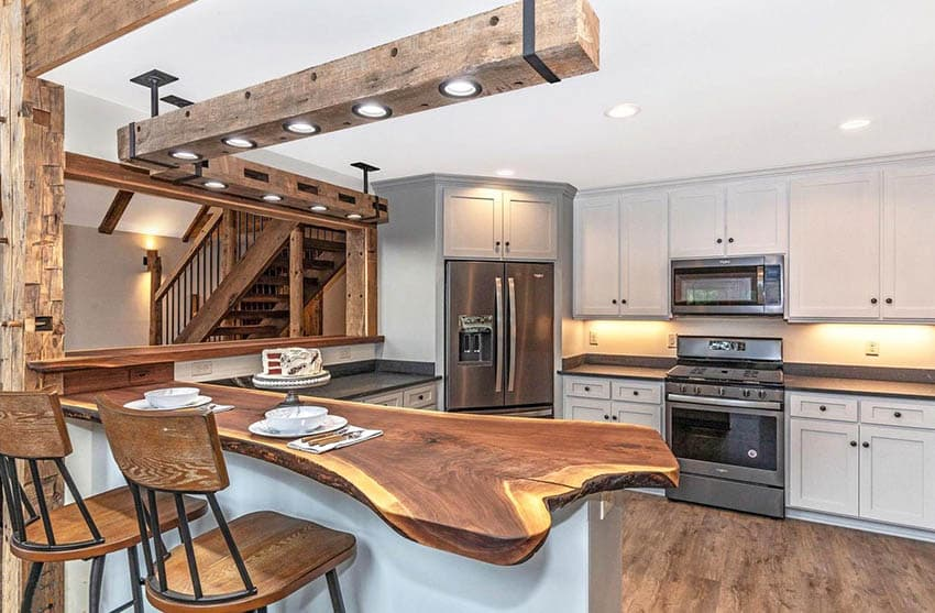 Rustic kitchen with live edge wood countertop
