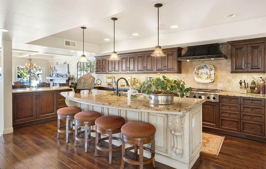 Rustic solid wood kitchen with cream island peninsula and beige granite countertops