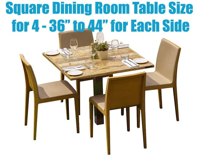 Square dining table size for 4 people
