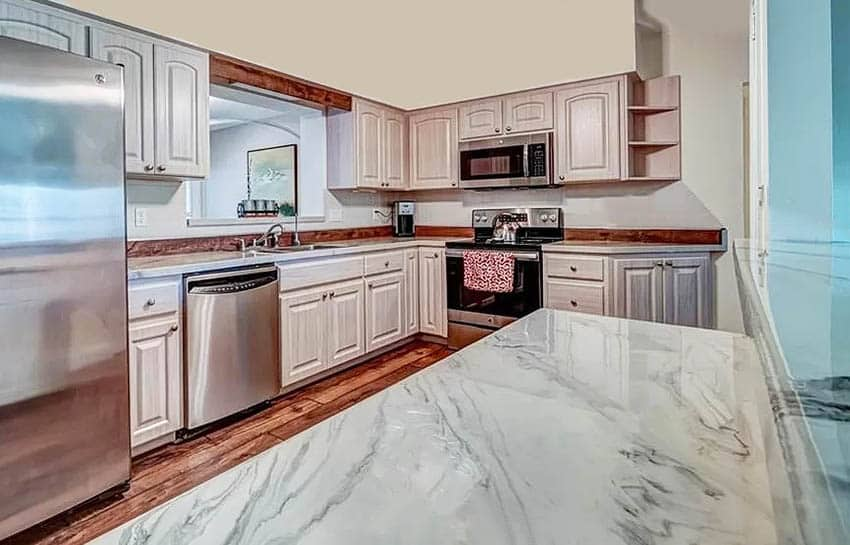 Traditional kitchen with white epoxy resin countertops