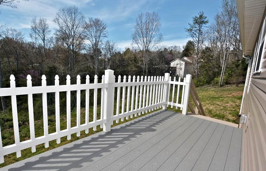 White picket fence deck railing