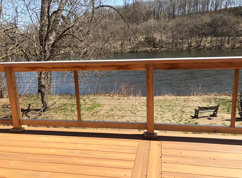 Wood and cable deck railing