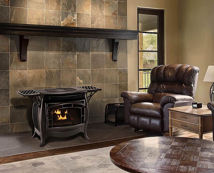 Freestanding gas fireplace with ventless design