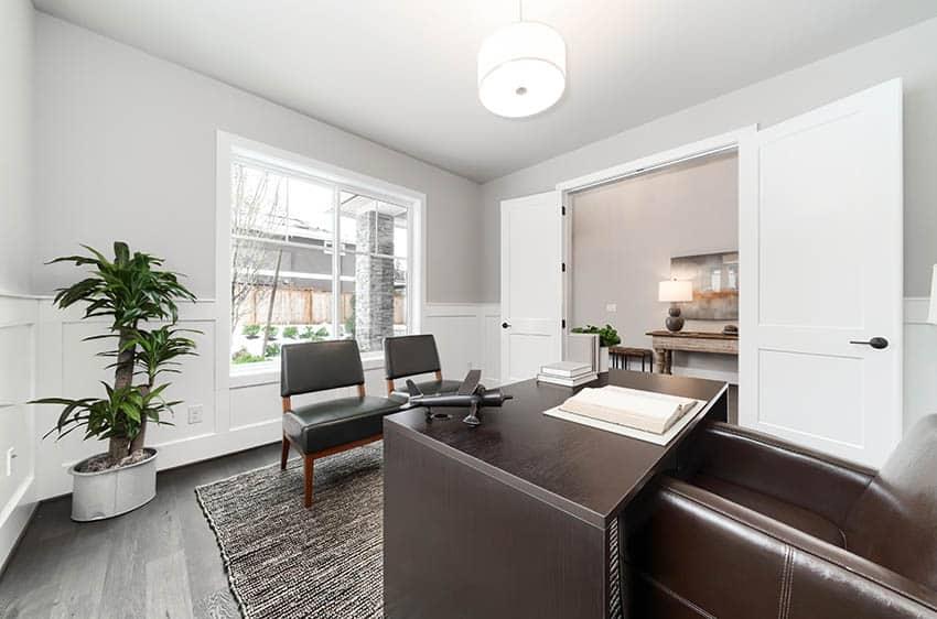 Home office with luxury vinyl tile flooring