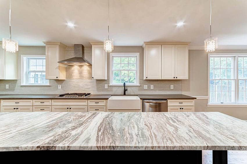 Kitchen with fantasy brown granite countertop island