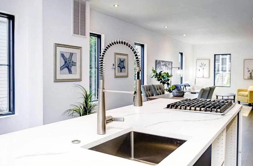 Kitchen with engineered quartz countertops