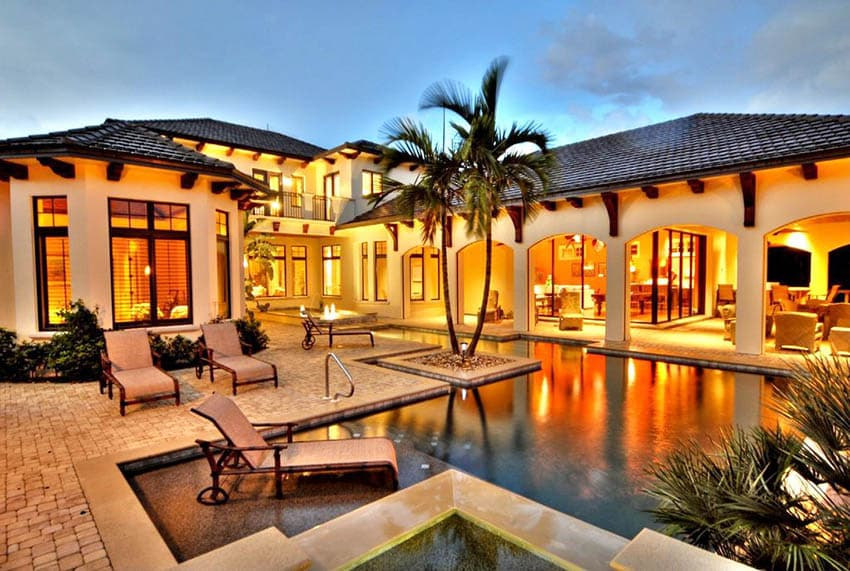 Mediterranean style stucco house with swimming pool with covered patio