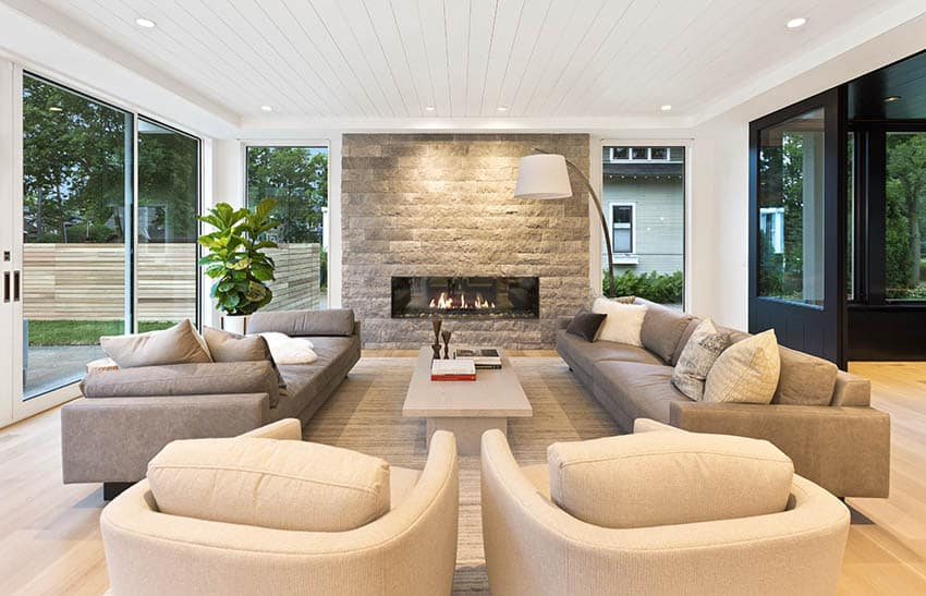Mid century modern living room with linear gas fireplace
