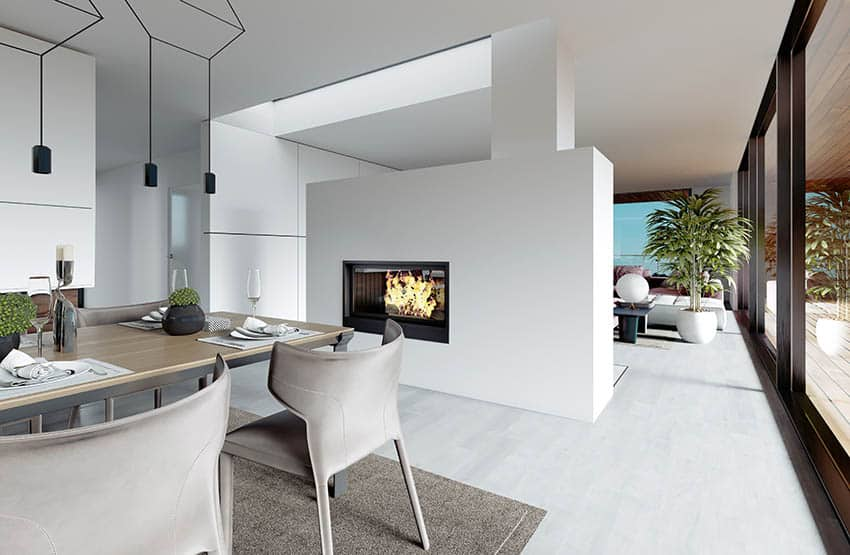 Modern dining and living room with double sides gas fireplace design