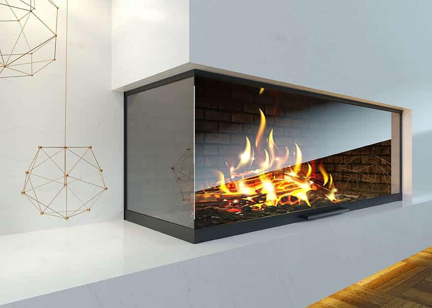Modern glass corner fireplace