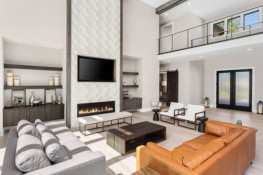Modern living room with gas linear fireplace with wavy tile design