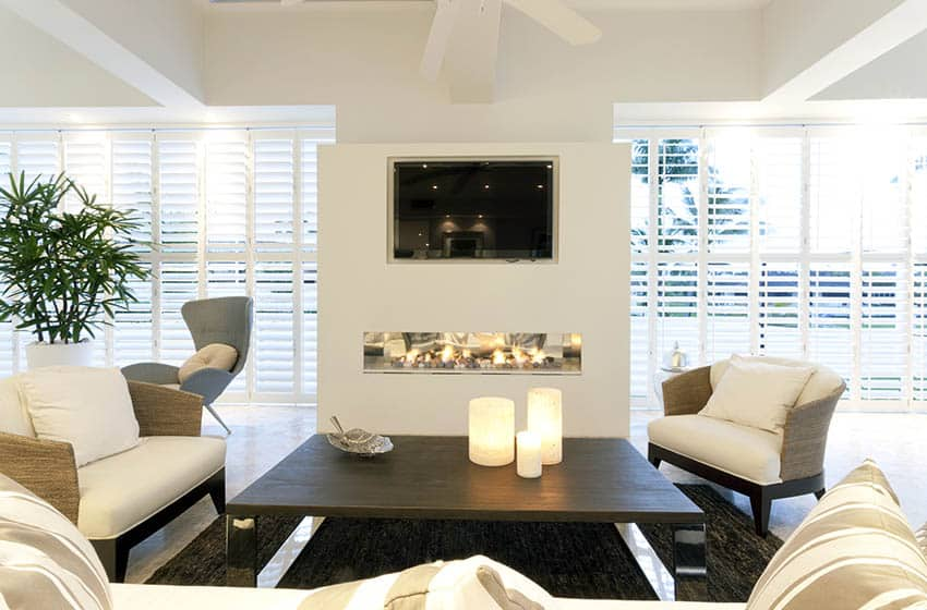 Modern living room with linear gas fireplace