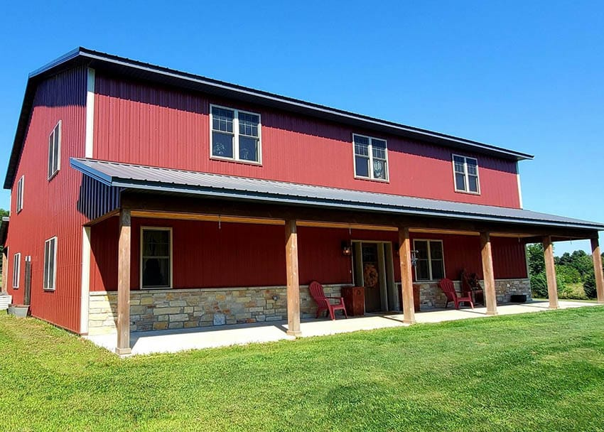 Pole barn home design with front porch