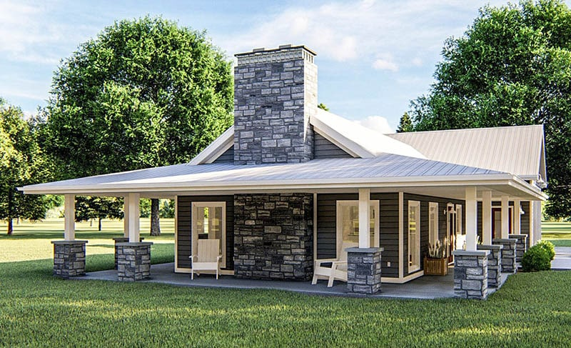 Pole barn house with 1 bedroom wraparound porch