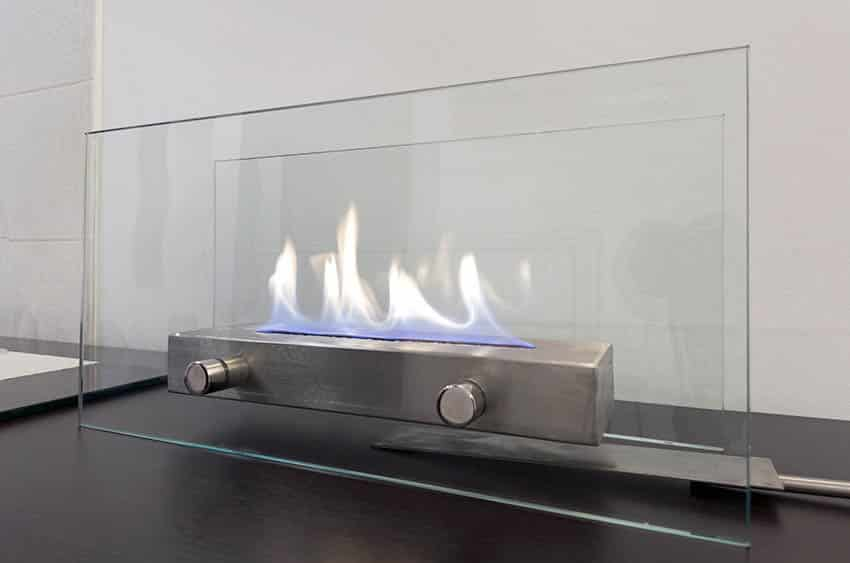 Small portable glass fireplace