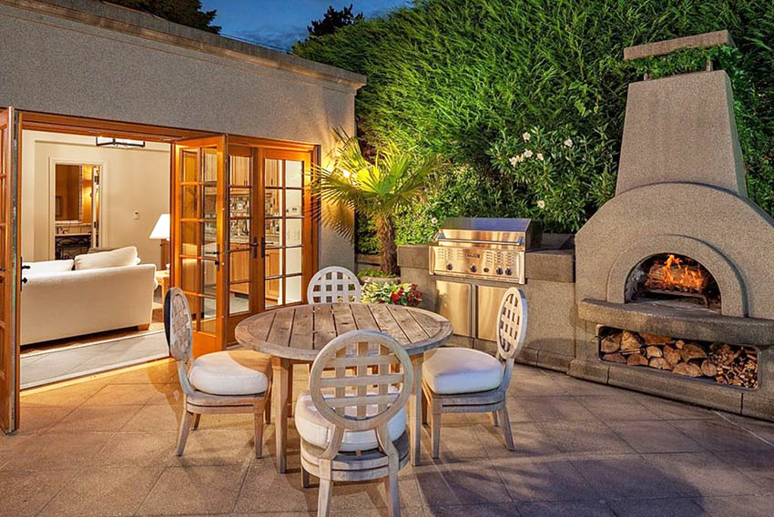 Spanish style stucco house patio with fireplace and barbecue