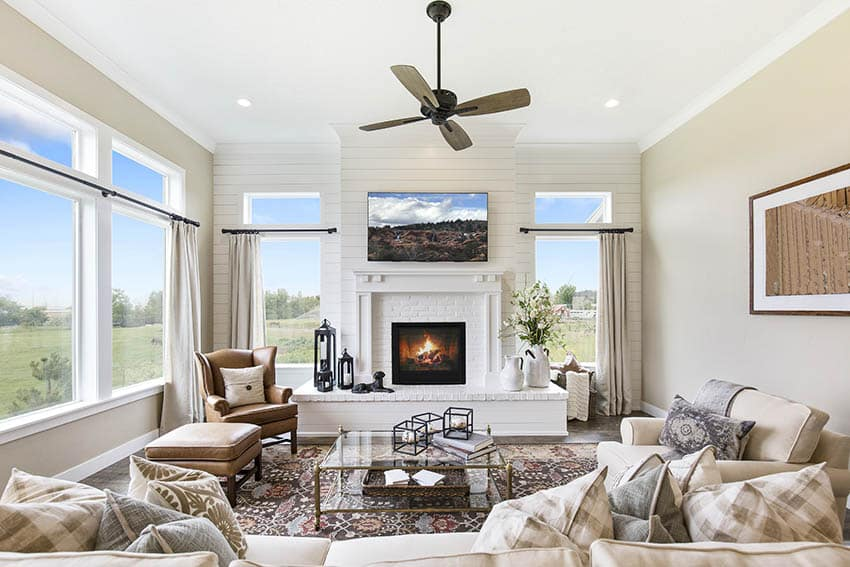 Traditional living room with gas fireplace