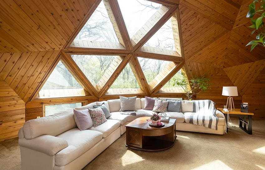 Wood plank geodesic dome living room