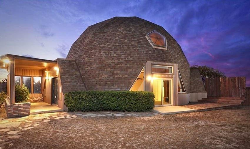 Wood shingle geodesic dome house with skylight