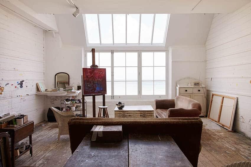 Attic art studio with natural light