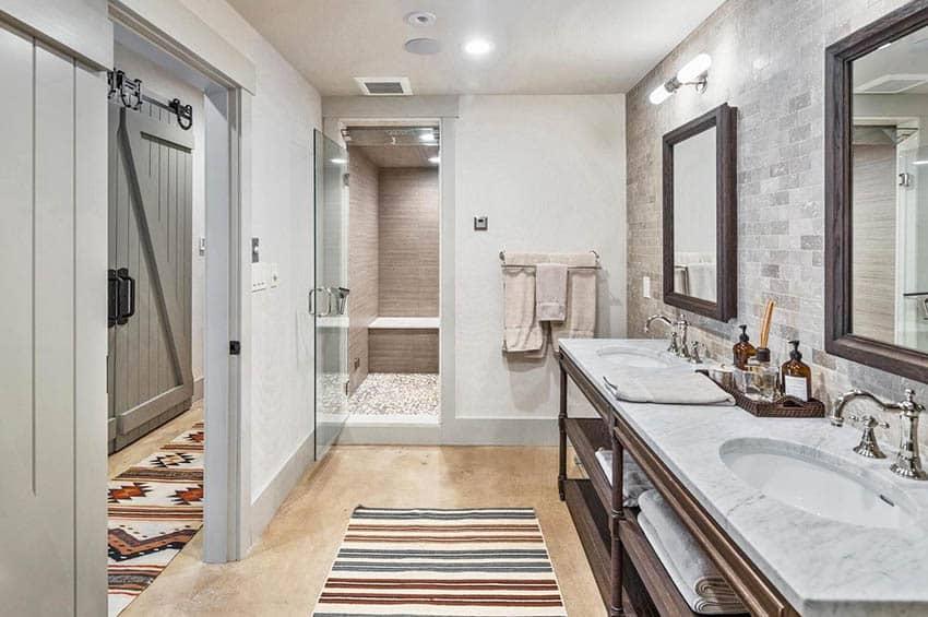 Bathroom with concrete epoxy floor coating