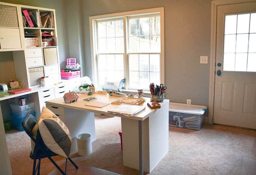 Budge craft room with desk and inexpensive storage