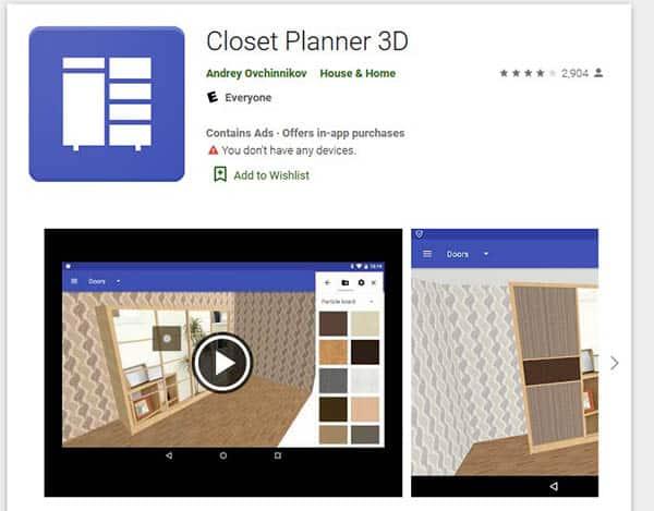 Closet planner 3D