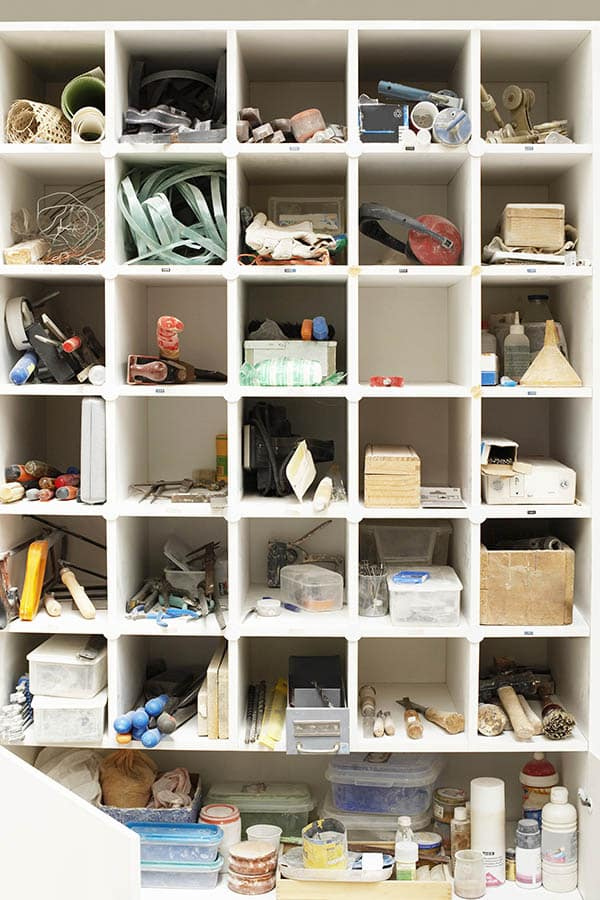 Craft room cubby tool shelves
