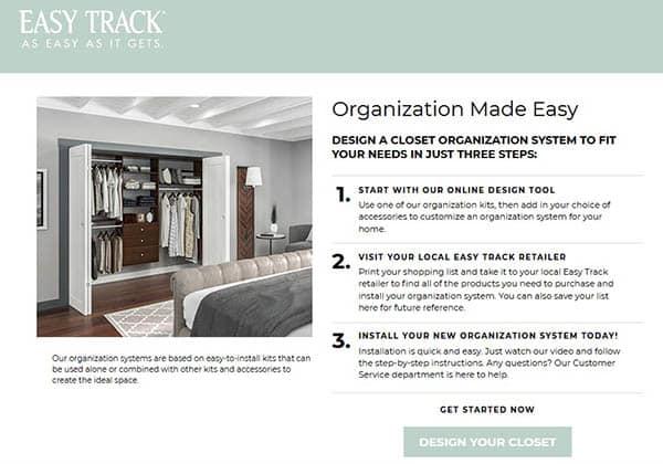 Easy track closet organization design tool