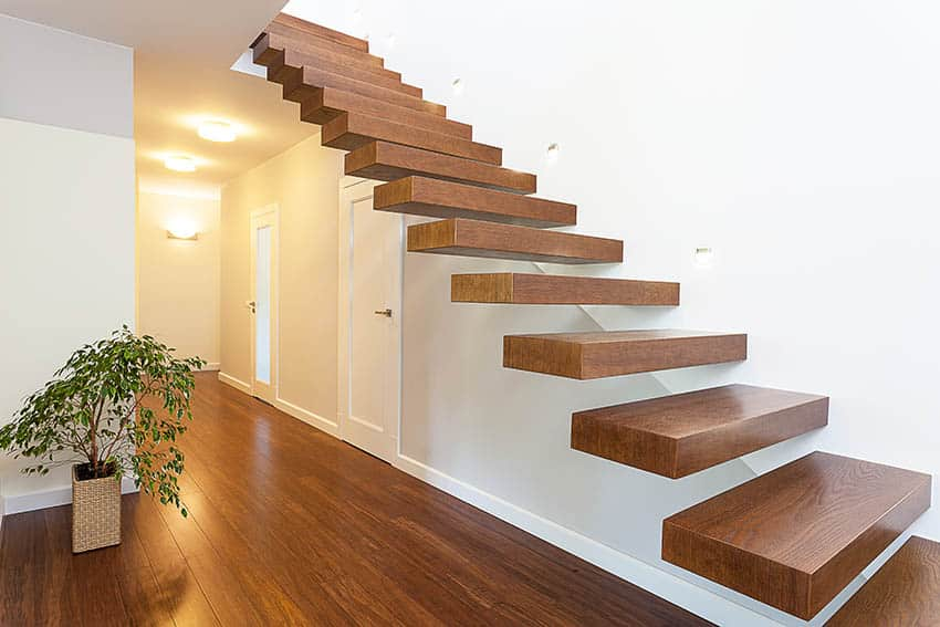Floating wood stairs with no railing