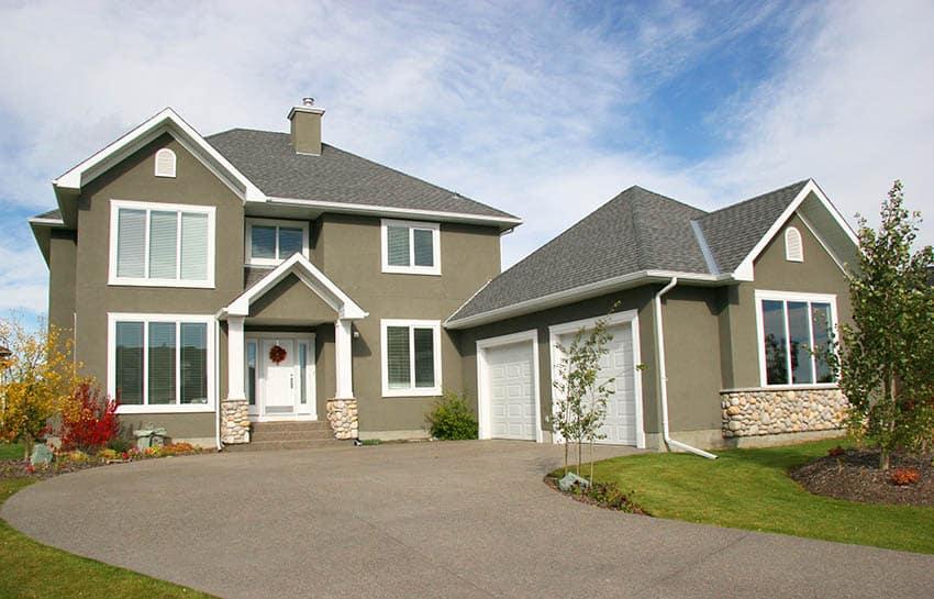 Green stucco house exterior