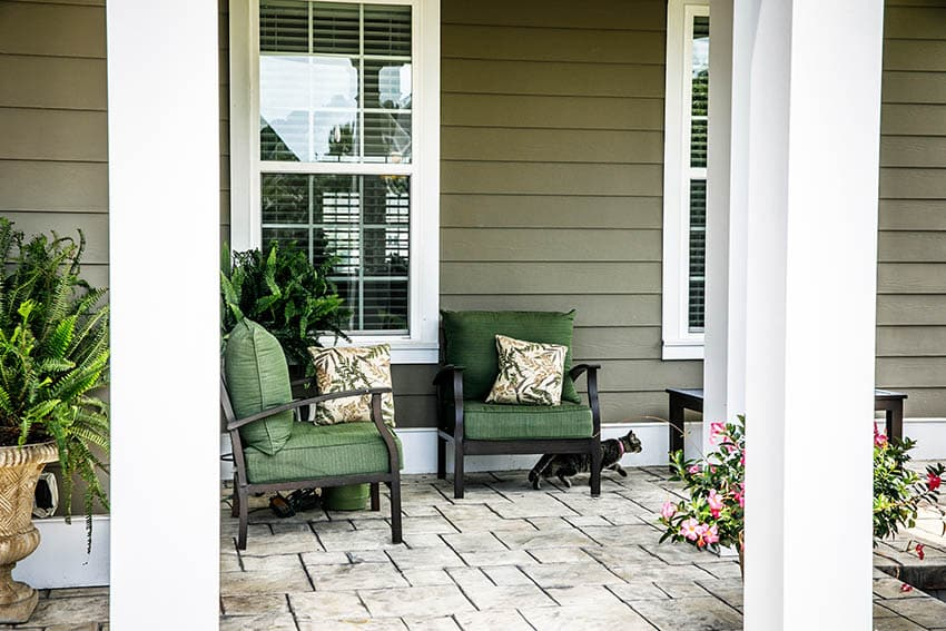 Hardie board fiber cement siding house front porch