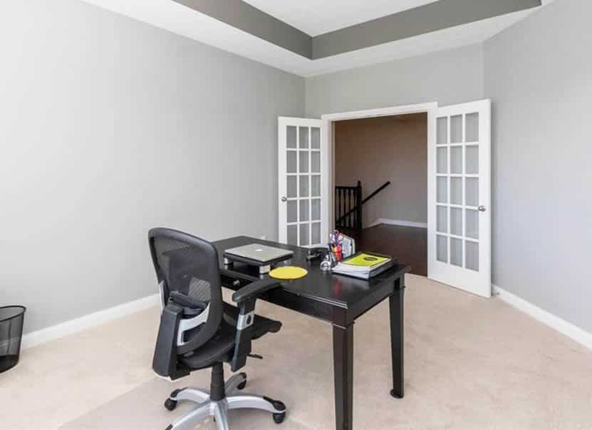 Home office with french doors gray wall paint