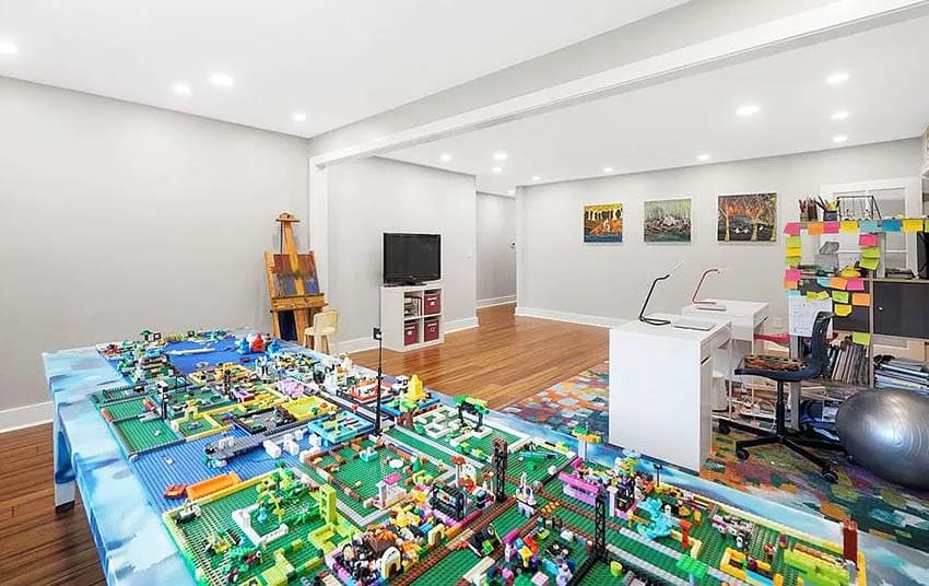 Kids craft room with lego table