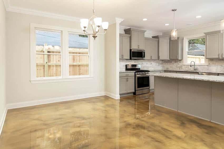 Kitchen with metallic epoxy flooring