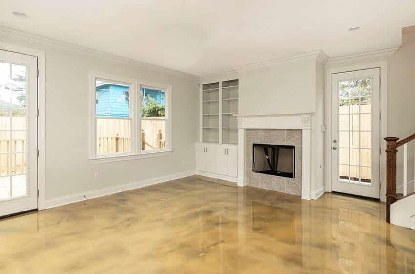 Living room with metallic epoxy floor