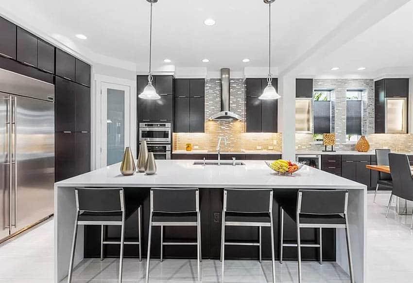 Kitchen with decorative metal backsplash
