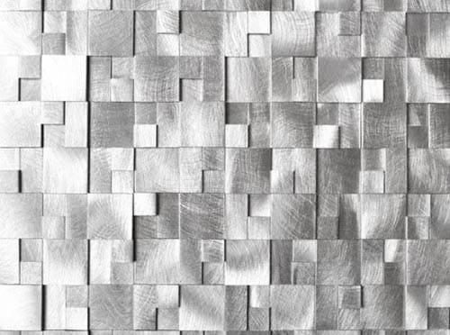 Raised cobblestone aluminum backsplash