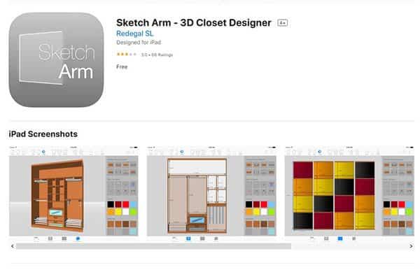Sketch arm 3d closet designer for iphone