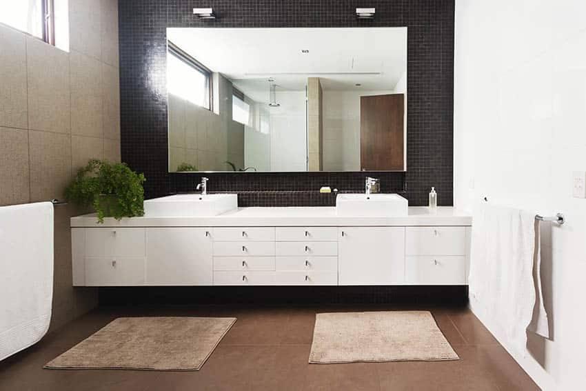 Bathroom with double sink vanity and towel bar