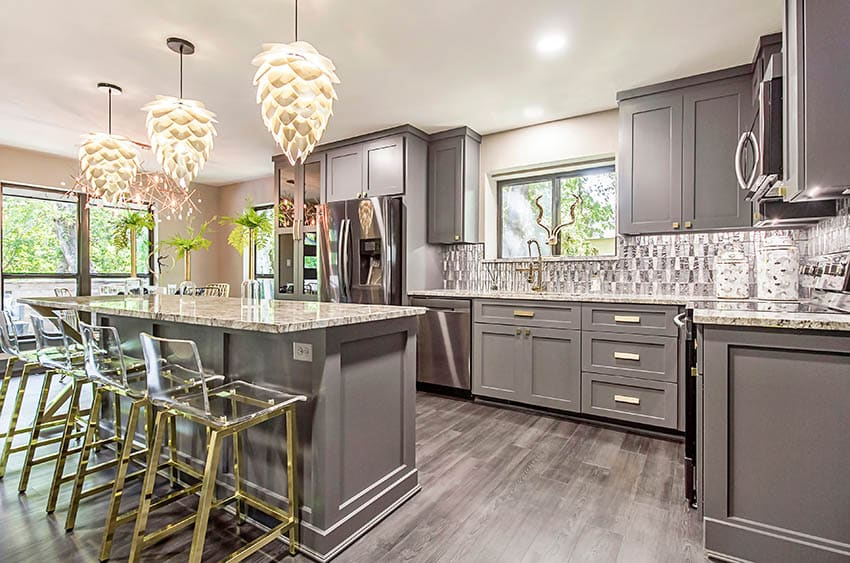 Contemporary kitchen with gray cabinets flower style pendant lights granite countertop