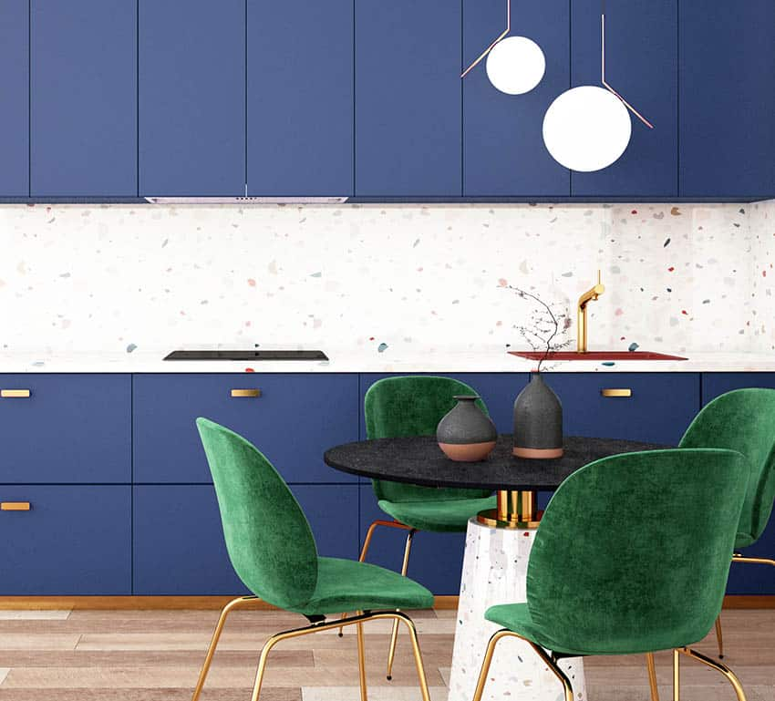 Feng shui blue cabinet kitchen design with green dining chairs