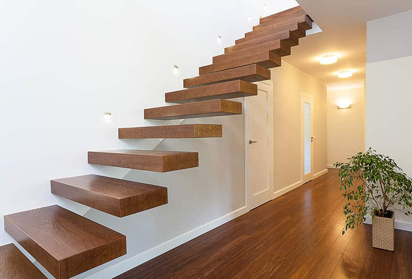 Floating wood stairs without railing